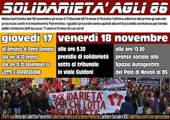 Volantino 18 Novembre 2016 le sentenze del processo contro il movimento fiorentino